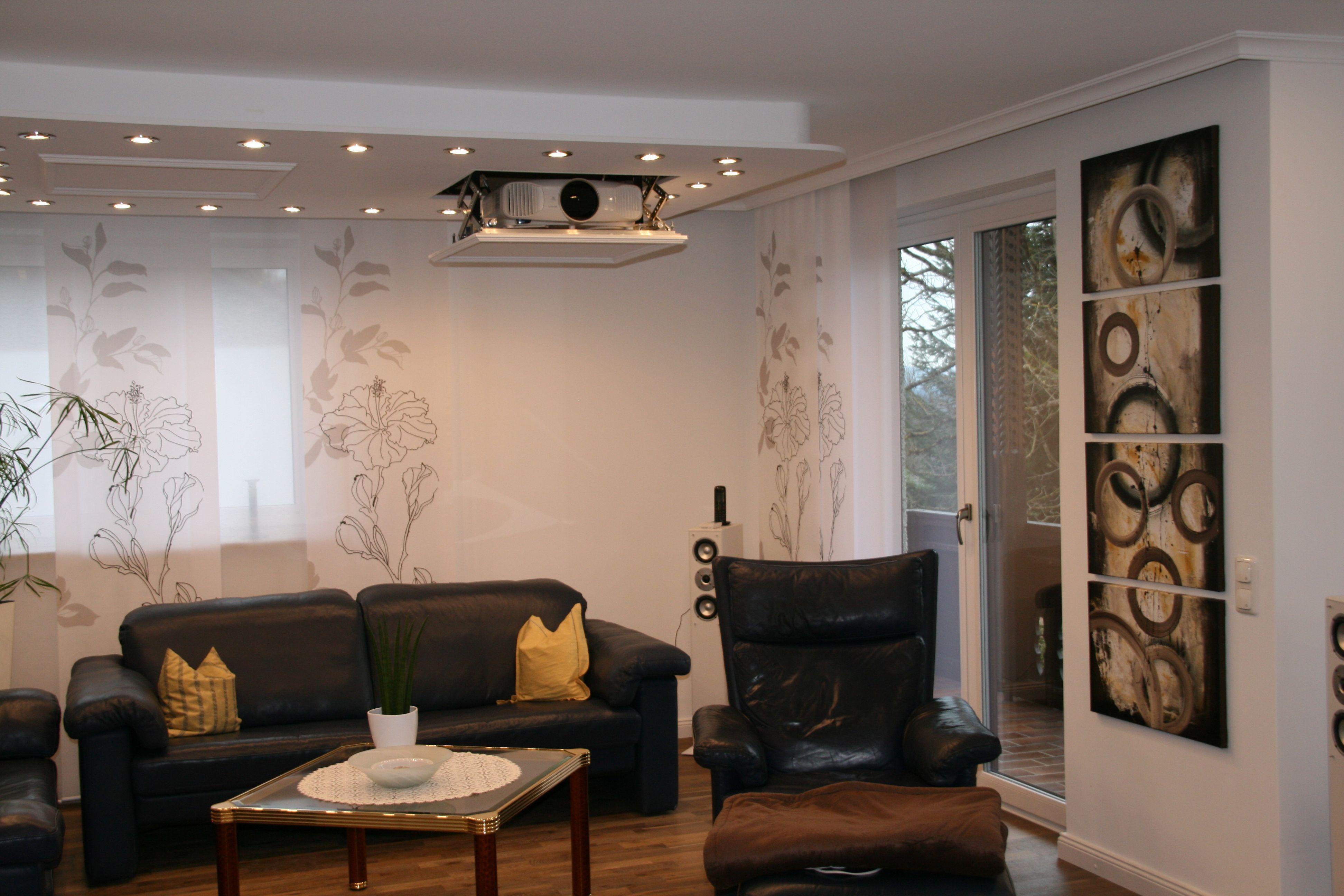 Deckeneinbau leinwand motorleinwand deckenmontage kinoqualit t beamer videoprojektor - Beamer wohnzimmer ...