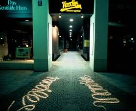Boden Projektor / Gobo Projection on sidewalk at night